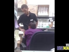 asian fucked in the backroom at work
