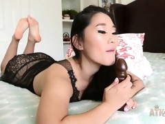 asian goddess loves to play with a giant dildo
