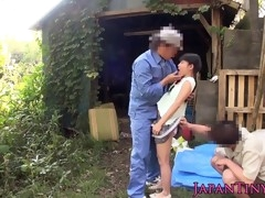 Cute Japanese teen gets nailed hard in the backyard
