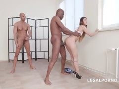 Lustful Asian has her asshole gaped by several black boners