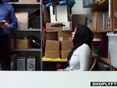 big titted hijab teen gets a facial in the shop backoffice