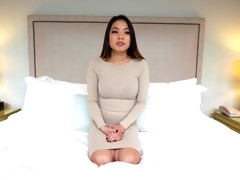 Petite and young Asian hottie fucks and gets cum on