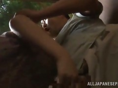 japanese babe is fucked fucked outdoors until she's creampied