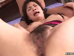 busty asian brunette getting filled up with two hard peckers