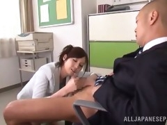 asian babe rides her boss' hard cock in the office
