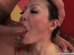 Big dick nails her Asian asshole and cums on her pretty face