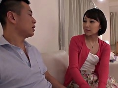 Sweet Asian brunette rides a stiff cock and loves it