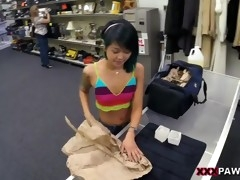 Hot tattooed asian slut drilled deep at the pawn shop