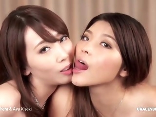 Adorable Japanese lesbian sluts and their sex toys