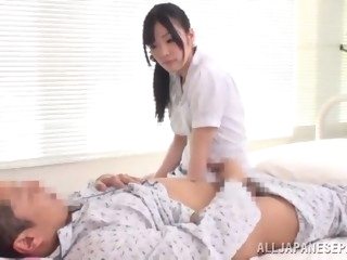 licentious asian nurse with natural tits and long hair delivering a sensual hand job then gets ripped hardcore