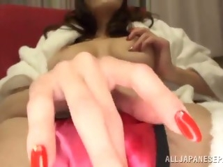 lecherous asian babe with natural tits fingering her pussy before giving a titillating pov blowjob