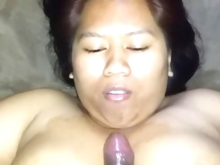 Tit fucking his Asian GF makes the guy cum hard