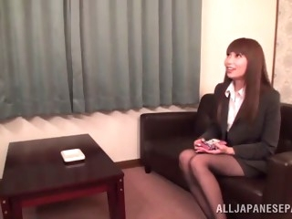 asian hottie's fucked by a coworker in the office