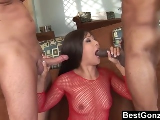 Hard double anal drilling for a fishnets Asian brunette slut
