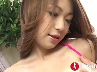 Petite hairy Asian gets pleased by various toys