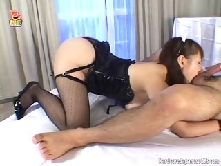 asian slut sucks and titty fucks a hard cock