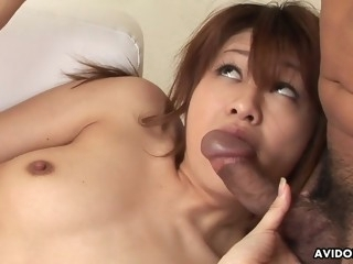 cute and skinny asian hottie rides the dude's hard cock with